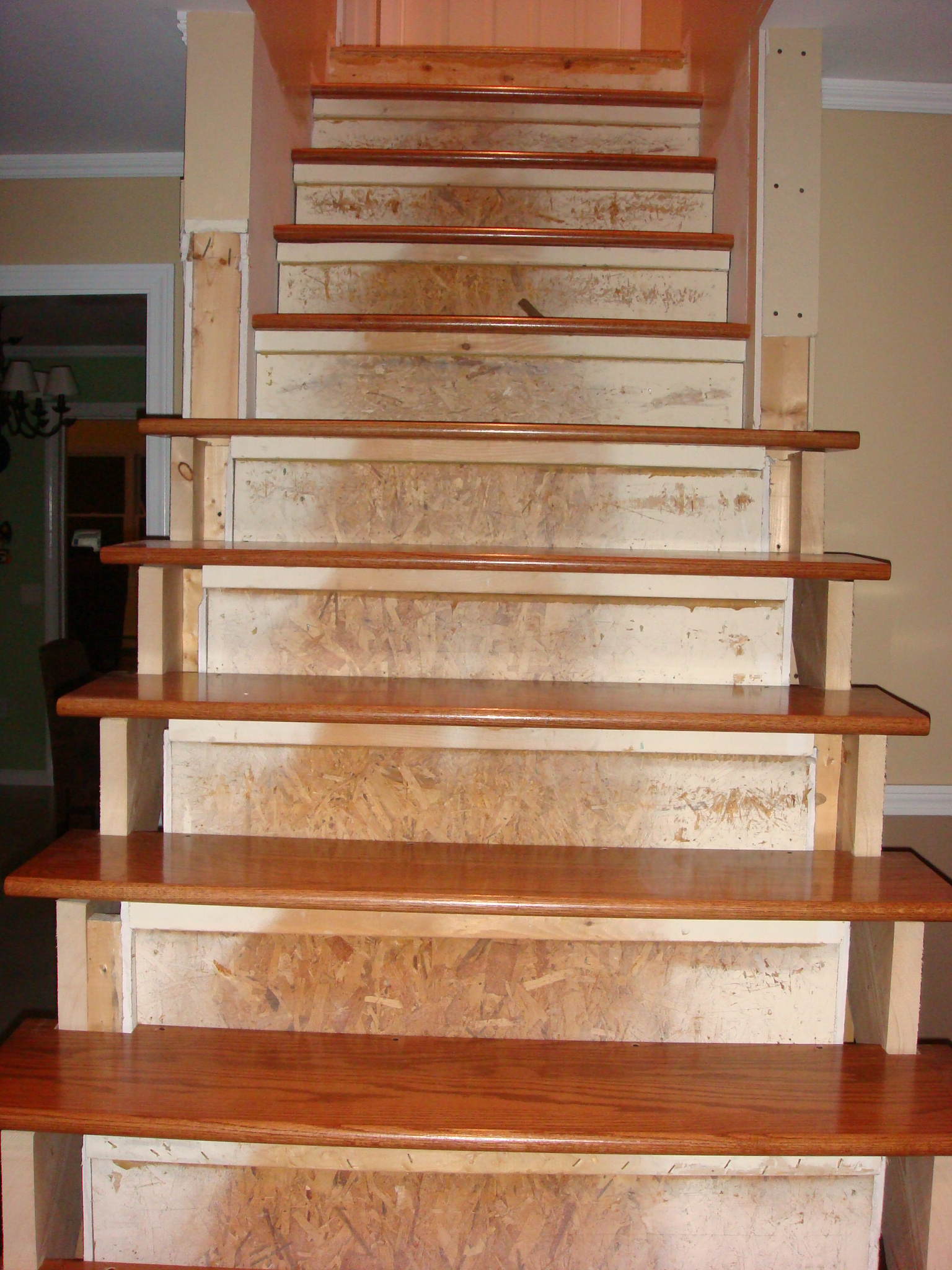 Building wood stairs handy man crafty woman for Painted stair treads
